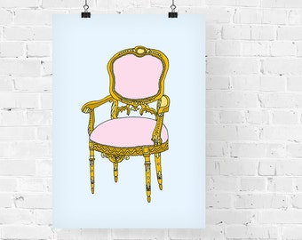 Rococo Pink Arm Chair Decorative Illustration Art Print