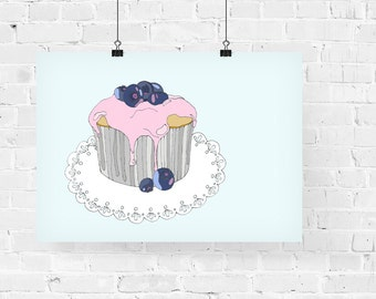 Blueberry Cupcake Decorative Foodie Illustration Art Print