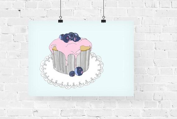 Blueberry Cupcake Decorative Foodie Illustration Art Print