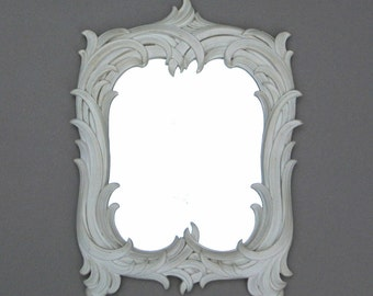 Vintage Syroco Wood Mirror Ornate Ivory Colored Frame 15 Inches High Cottage Chic Decor