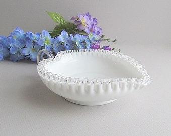Vintage Milk Glass Heart Dish, Silver Crest Dish, Candy Dish, Wedding Dish, Valentine's Dish