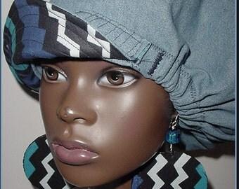 Billed-Bibbed Hat-Denim Blue Black African Fabric Print Reversible-Newsboy-Newsgirl