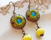75% Off Clearance Sale- Salvador, Earrings with Vintage Beads