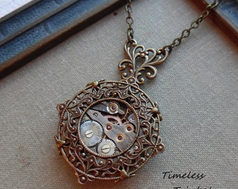75% Off Steampunk Clearance Sale- Steampunk Necklace, Gothic Watch Movement