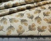 Fabric Fat Quarter - Exquisite Peacock feathers in Metallic Gold on Bronze - fiber arts crafts home decor crafts quilting