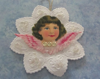 Vintage Embossed White Paper Star Ornament with Antique Angel Paper Scrap and Gold Dresdens Handmade Piece