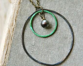 Geometrical circle necklace /modern necklace /geometrical jewelry. Tiedupmemories