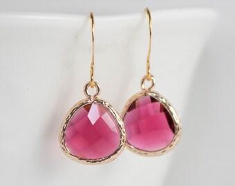 July Birthstone Ruby Gold Earrings, Ruby Gold Earrings, July Birthday Gift, Bridesmaid Earrings, July Birthstone Jewelry, Gold Earrings #807