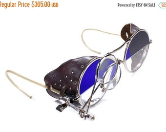 Steampunk Goggles Antique Rare 2 Tone Steampunk Glasses Cobalt BLUE & Clear LEATHER Side Shields 2 Loupes Burning Man Harley - by edmdesigns