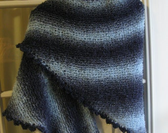 Hand Knit Shaded Blue Triangle Shawl with a Crochet Shell Edge