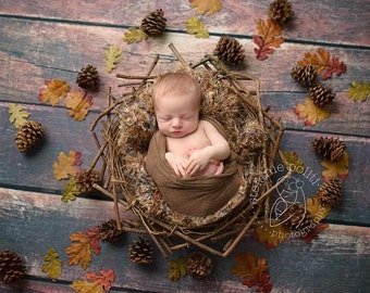 Rustic Newborn Baby Photography Prop Blanket Photo Prop with Brown and other Natural Woodland Colors