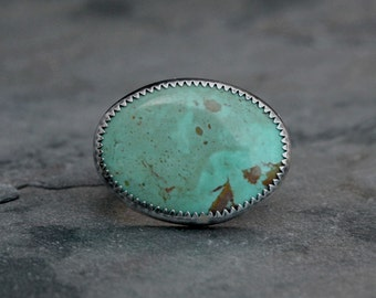 Turquoise Statement Ring, Sterling Silver Ring, Large Natural Stone, One of a Kind, Etched Western Floral Ring Band, December Birthstone