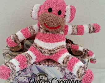 Sophia the sock monkey ready to ship