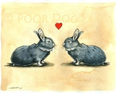 CUSTOM portrait of your Rabbits-----  Hare Love   -Original Watercolor painted print