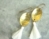 Captiva Tassel Earrings, Hammered Brass Drop with White Silk Tassel