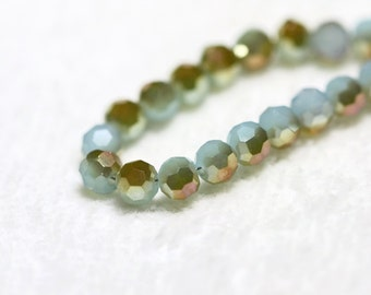 25 pcs. 4mm. Aqua Grey Golden Half Coated Faceted Round Chinese Glass Crystal