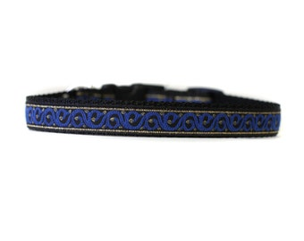 5/8 or 3/4 Inch Wide Dog Collar with Adjustable Buckle or Martingale in Gilded