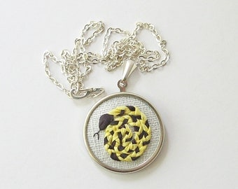 Snake necklace, embroidered reptile jewelry, silk ribbon embroidered coiled snake, black and yellow snake pendant
