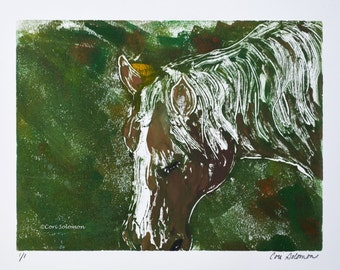Brown Horse Art Hand Pulled Print Monotype By Cori Solomon