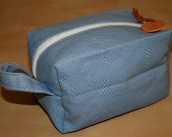 Light Blue Canvas Dopp Kit