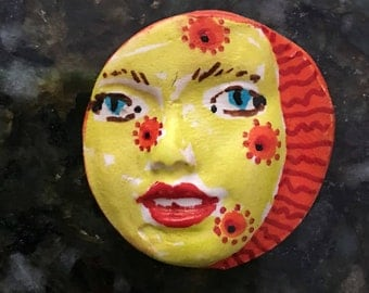 Handmade clay face  round red hair jewelry craft supplies  handmade cabochon  face light weight polymer