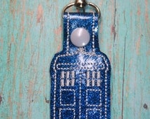 Police Box Dr Who Keyfob - Tardis Keychain - Bag Charm - Key Fobs - Cool Keychains - Geeky Gift - Best Gifts For Him or Her