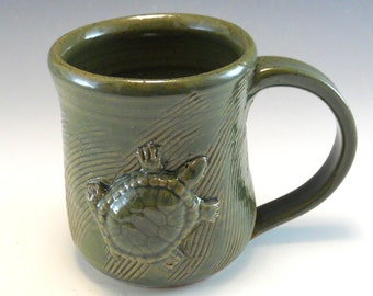 Hand Made Pottery Turtle Mug/Pottery Turtle Cup 8-10 Ounce