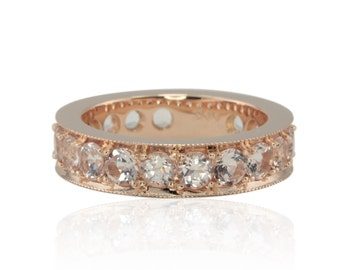 Morganite Wedding Band - Rose Gold Morganite Ring with Faux Channel Setting, Milgrain Edges and Almost Full Eternity Design - LS4510