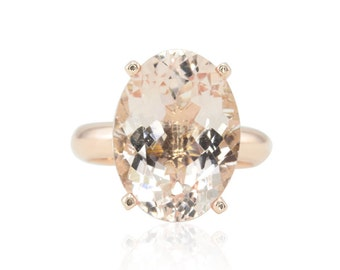 Morganite Engagement Ring - 7 Carat Oval cut Peach Morganite Ring with Filigree and Plain Rose Gold Shank - Adeleine Collection - LS4668