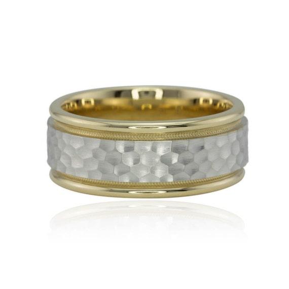 14kt Yellow and White Gold Man's Wedding Band - Hammered with Milgrain - LS1349