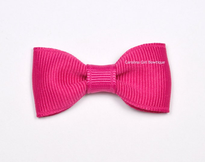 Shocking Pink Baby Hair Bow ~ 2 in. Bows with No Slip Grip ~ Small Hair Bows Newborns Toddler Girls