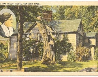 Vintage 1920's -1940's Linen Postcard Unsued Louisa May Alcott House, Concord, Mass