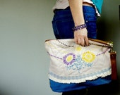 For Jenny///Vintage Needlework, Retro Denim, and Suede with a Thick Brown Leather Wristlet ///Fold Over Clutch/// Pouch