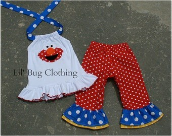 Custom Boutique Clothing Sesame Street Elmo Red White Blue Yellow Capri and Halter Top