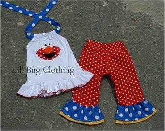 Custom Boutique Clothing Sesame Street Elmo Red White Blue Yellow Capri and Halter Top