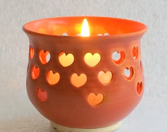 Orange Votive Candle Holder or Luminary with Heart Cut-outs - Wheel Thrown Pottery