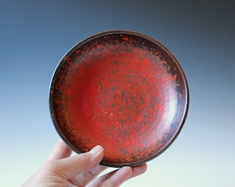 Mid century modern Pigeon Forge Pottery orange and brown bowl - Art Pottery signed D. Ferguson