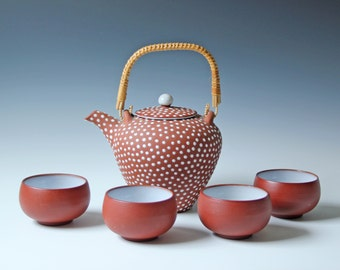 Set of Denmark Zeuthen teapot and teacups - art pottery redware mid-century Danish Keramik - polka dots