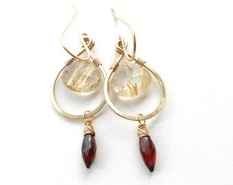 Garnet And Rutilated Quartz Gold Dangle Earrings, Gold Filled Gemstone Briolette Earrings