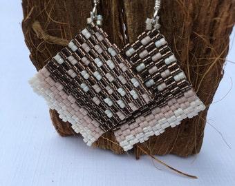 Bead Weaver Peyote Stitch Earrings - Antique White, Pale Pink, Metallic Bronze Peyote Stitch Earrings