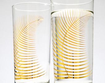 Metallic Gold Fern Glasses - Set of 2 Christmas Glasses, Gold Holiday Glasses, Christmas Glasses, Christmas Glassware, Metallic Gold Leaf