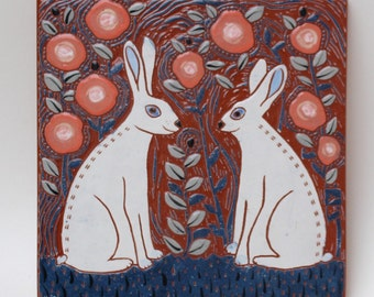 white rabbit meetup hand carved ceramic art tile