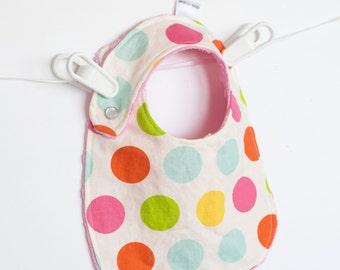 Baby Girl Bib, Adjustable Bib with Minky for Baby Toddler Girls Large Dot Multi