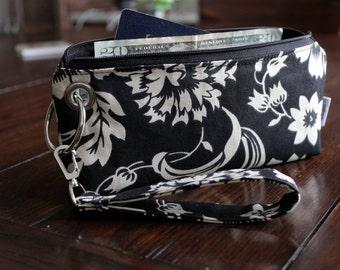 Zipper Pouch Clutch Wallet - Long Wallet - Cell Phone Wallet - Errand Runner - Fabric Wallet - Wristlet - Travel - Black Ivory Cream Floral