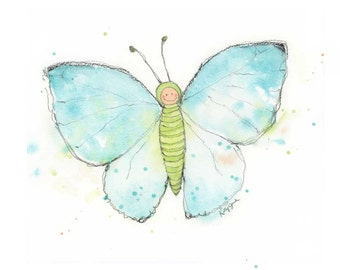 Blue Butterfly Print ~ Butterfly Wall Art Print - Butterfly Nursery Watercolor Print - Butterfly Wall Decor - Blue Butterfly painting
