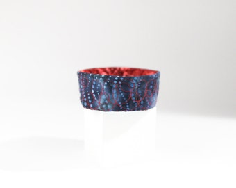 Jewelry Catcher Bowl Home Organization Blue Red Ring Dish Quilted Trinket Bowl Indigo Desk Accessory Under 20 Gift Fiber Art Gift for Her