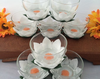 Vintage Lotus Flower Dessert Dish Set