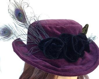 Purple Velvet Hat Steampunk Neo Victorian Womens Top Hat
