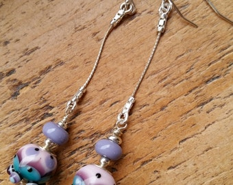 Ceris...Lampwork vintage style earrings by Pixie Willow Designs