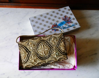 1930's Art Deco  Hand Made Gold Embroidered Purse or Clutch Designed by Zardozi for Eaton's